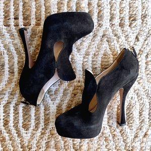 Prada Black Suede Platform High Heel Pumps